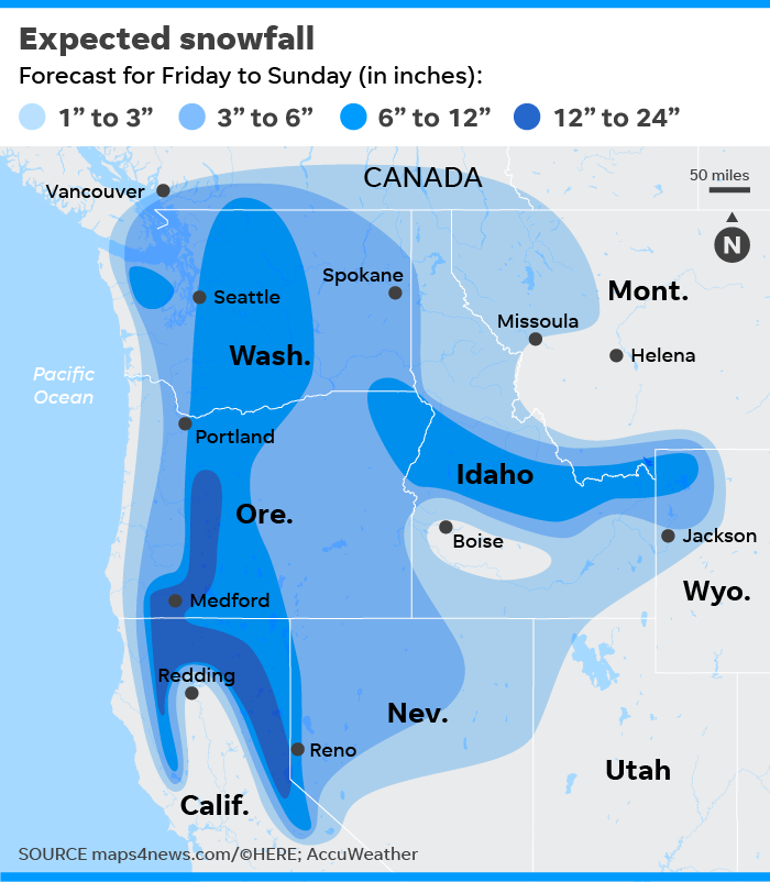 Seattle snowstorm: Rare winter blast to paste Pacific Northwest