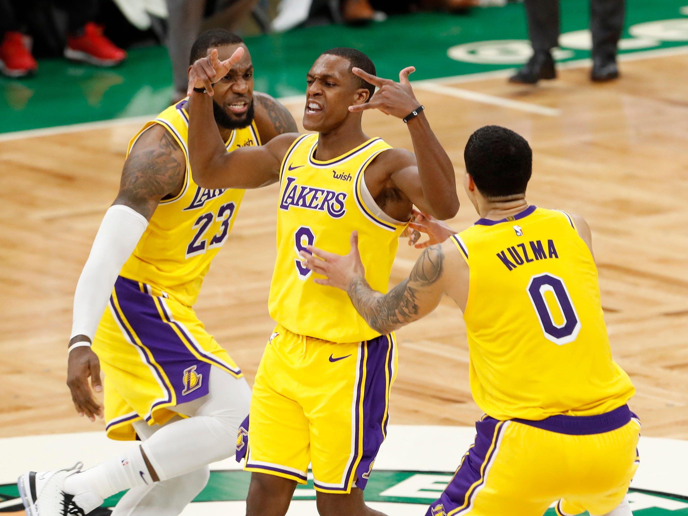 Feb. 7: Rajon Rondo celebrates his game-winning basket against the Boston Celtics at TD Garden. The LA Lakers won the game, 129-128.