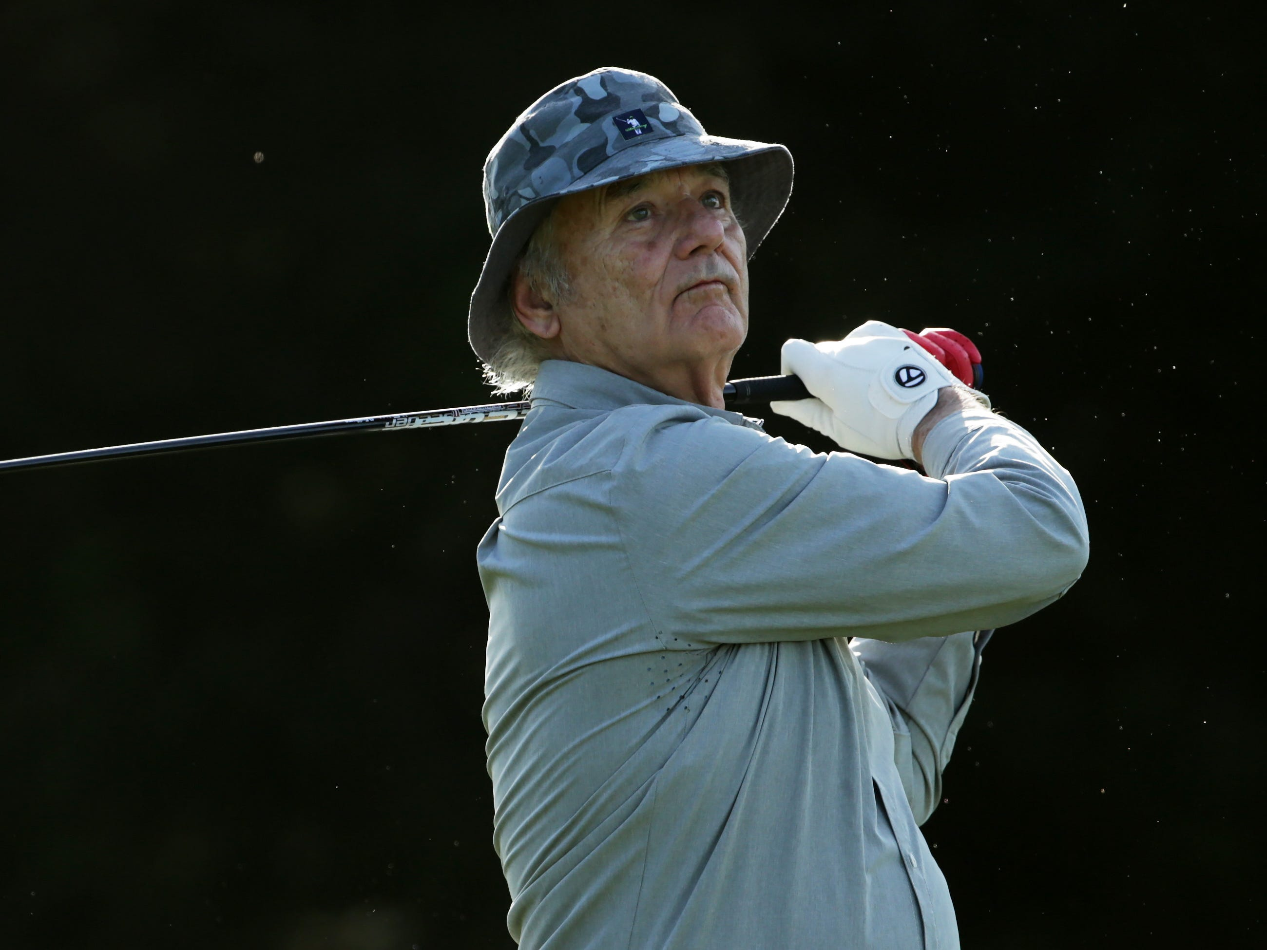 Actor Bill Murray plays his shot from the fifth tee during the first round of the AT&T Pebble Beach Pro-Am.