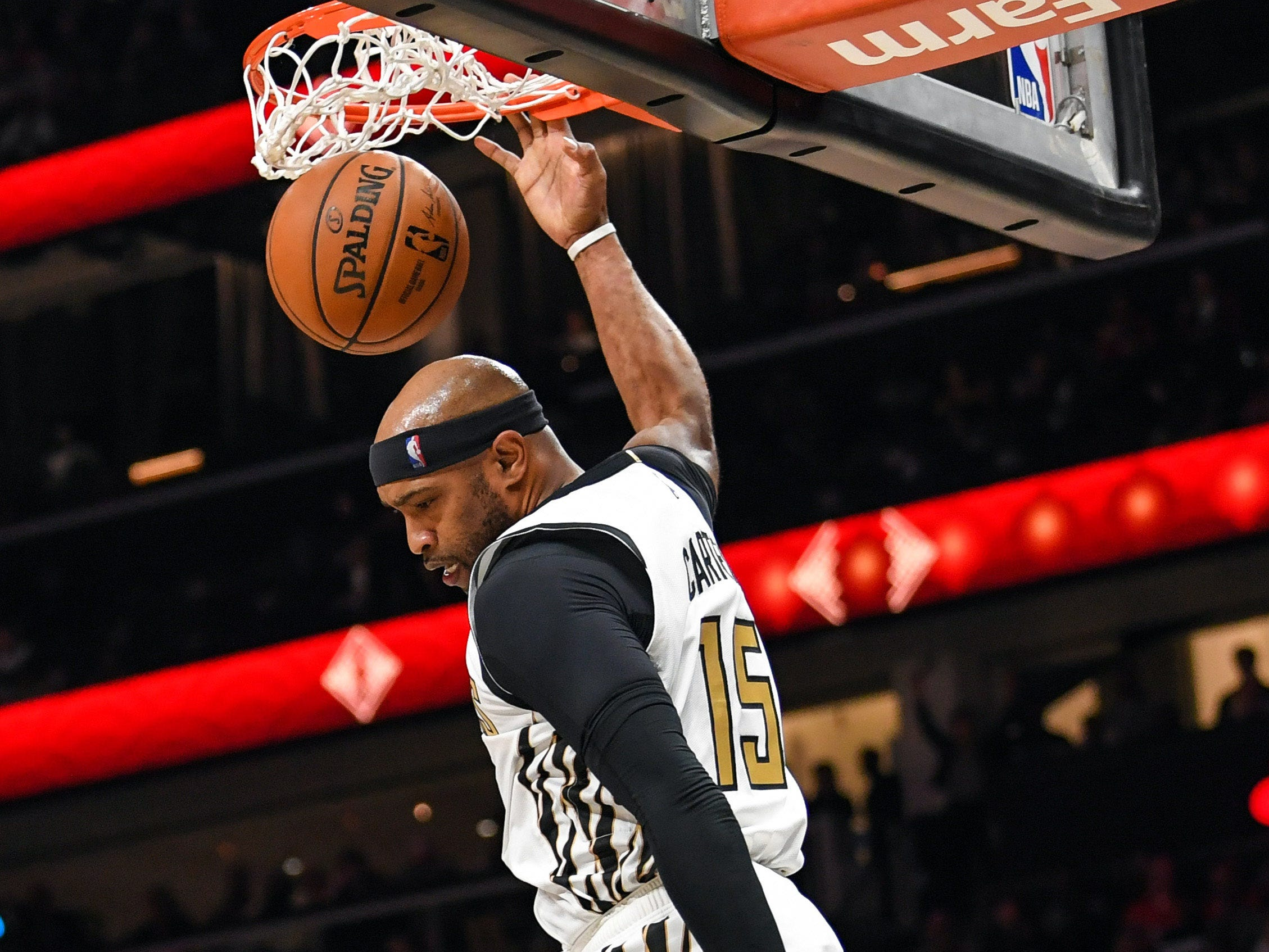 Feb. 7: Atlanta Hawks forward Vince Carter dunks against the Toronto Raptors.