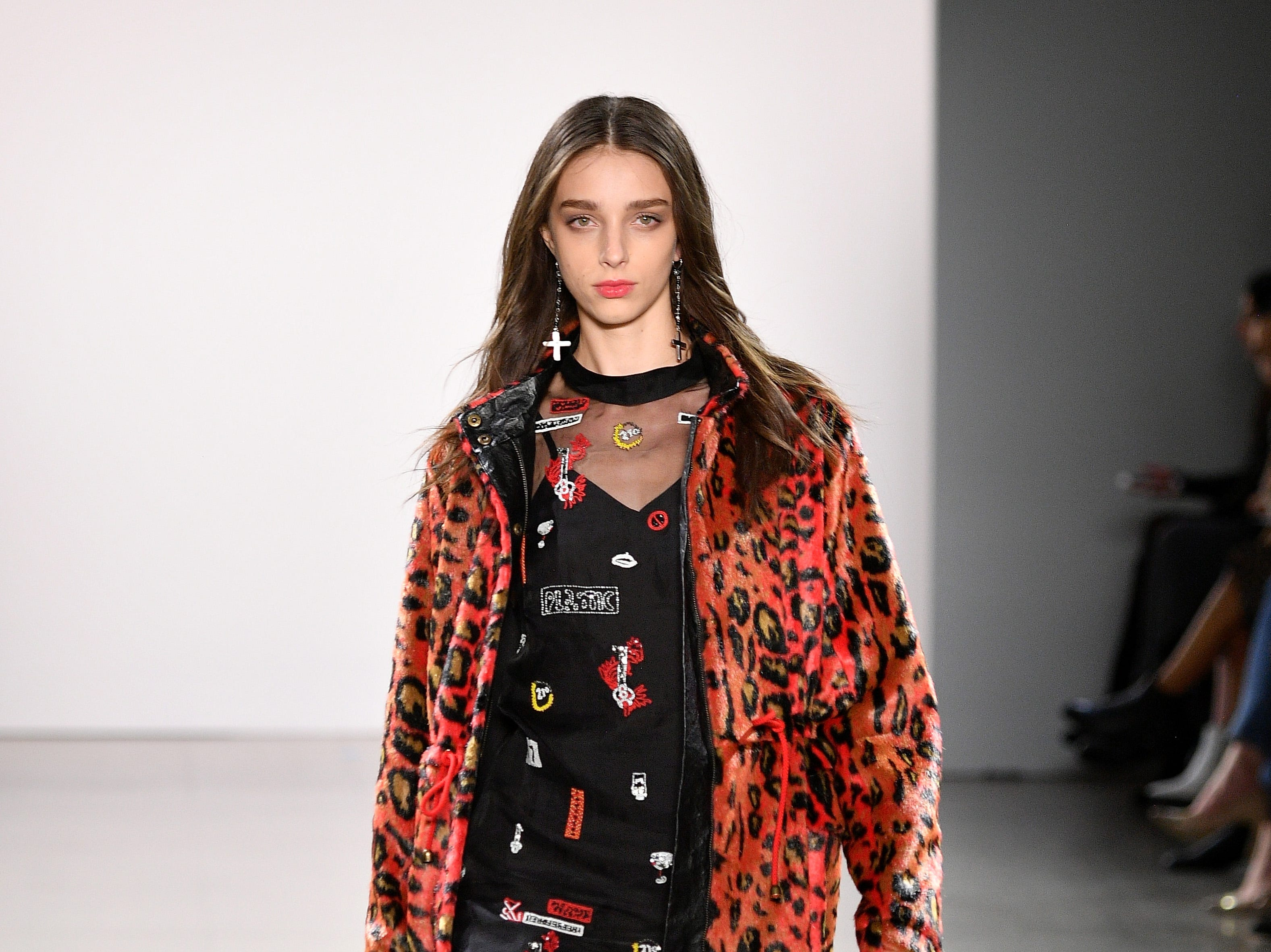 NEW YORK, NY - FEBRUARY 07:  A model walks the runway for the Nicole Miller fashion show during New York Fashion Week: The Shows  at Gallery II at Spring Studios on February 7, 2019 in New York City.  (Photo by Dia Dipasupil/Getty Images for NYFW: The Shows) ORG XMIT: 775289346 ORIG FILE ID: 1095196724
