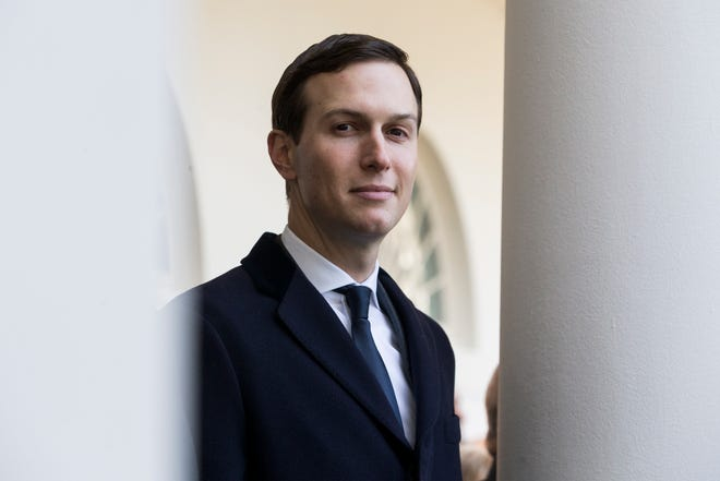 Senior Adviser to President Donald J. Trump Jared Kushner waits for President Trump (unseen) to deliver remarks in the Rose Garden of the White House in Washington, DC, USA, 25 January 2019.
