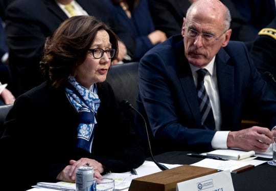 CIA Director Gina Haspel and Director of National Intelligence Daniel Coats at the Senate Intelligence Committee on Jan. 29, 2019, in Washington.