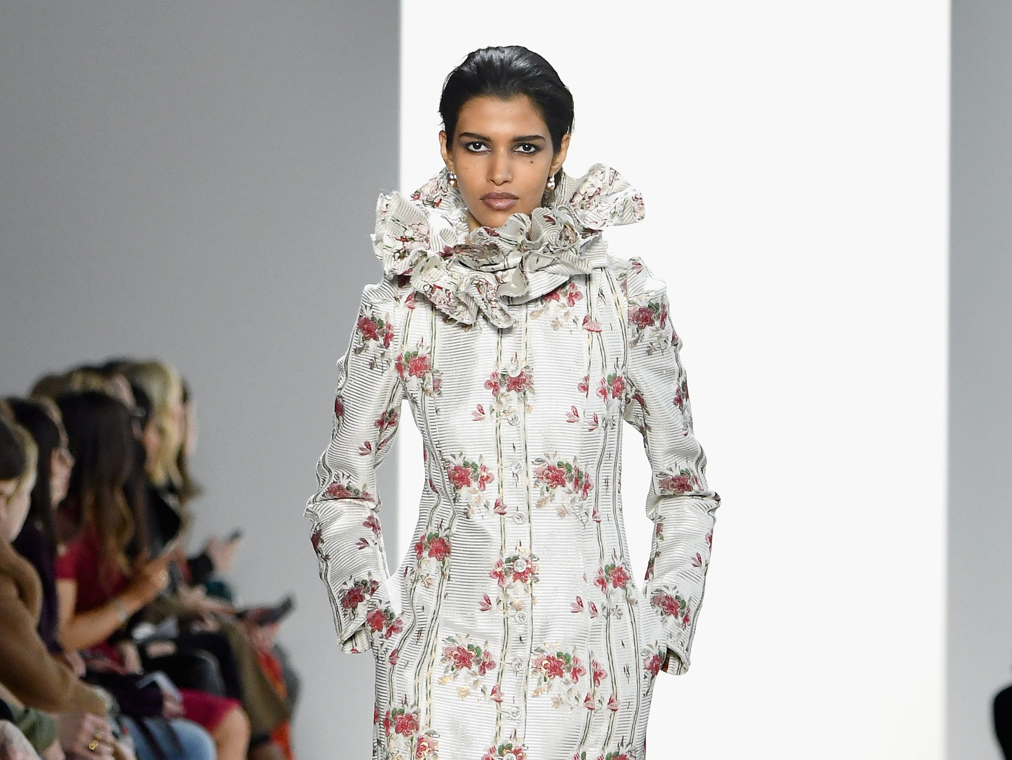 NEW YORK, NY - FEBRUARY 08:  A model walks the runway for the Brock Collection fashion show during New York Fashion Week: The Shows at Gallery I at Spring Studios on February 8, 2019 in New York City.  (Photo by Mike Coppola/Getty Images for NYFW: The Shows) ORG XMIT: 775289359 ORIG FILE ID: 1095510424