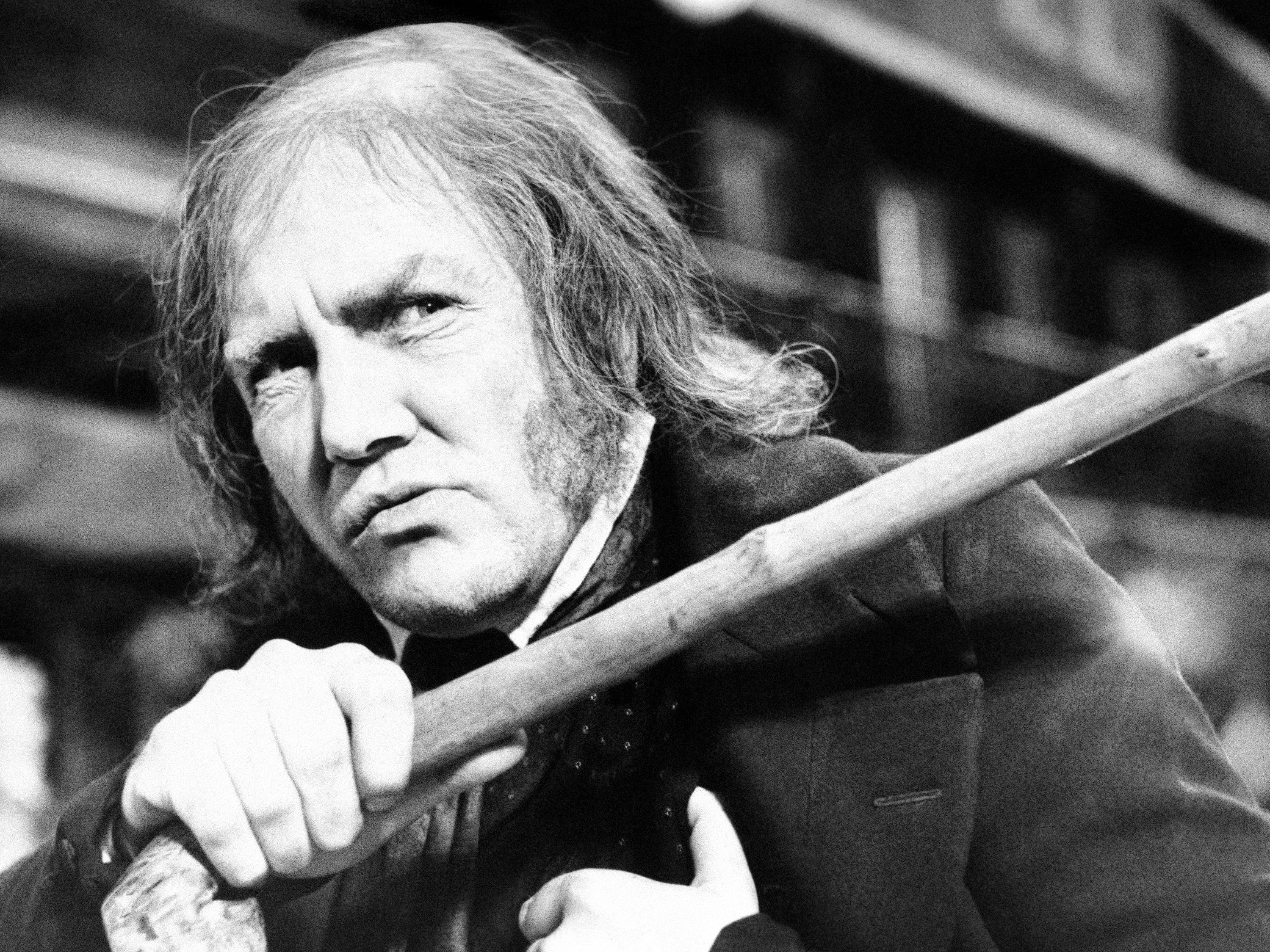 "Albert Finney waves his cane while playing the title role in ""Scrooge,"" Jan. 15, 1970."