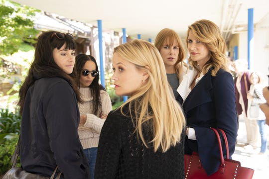 "Shailene Woodley, Zoe Kravitz, Nicole Kidman, Laura Dern and Reese Witherspoon in ""Big Little Lies."""