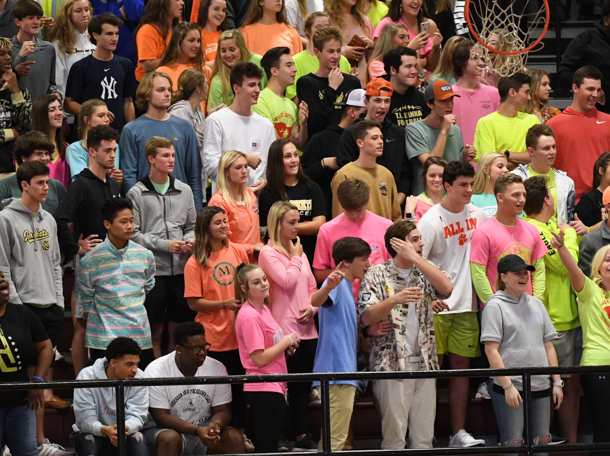 TL Hanna High fans during the fourth quarter at Westside High School in Anderson on Friday.