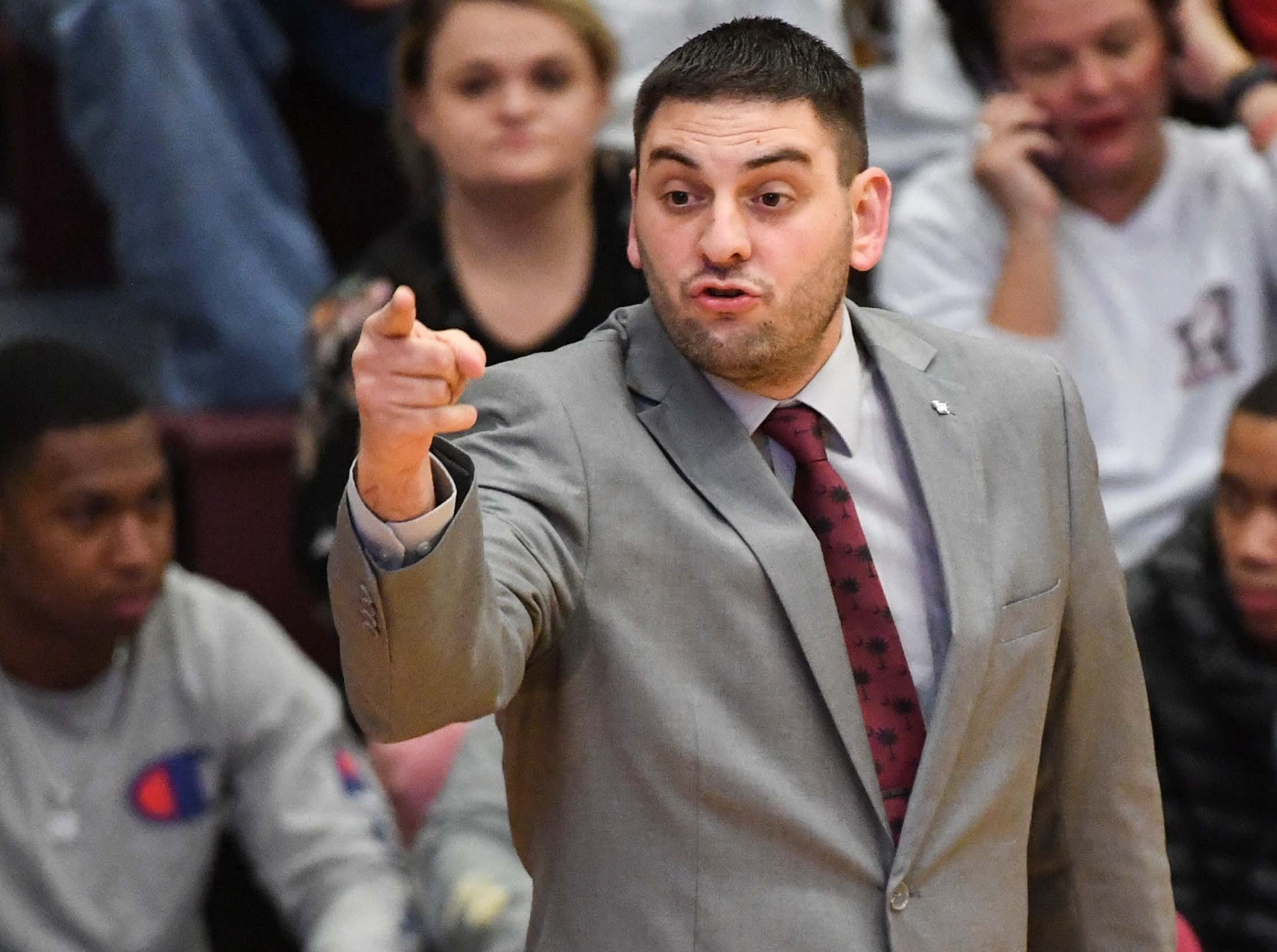 Westside coach Nick Agnello during the first quarter at Westside High School in Anderson on Friday.