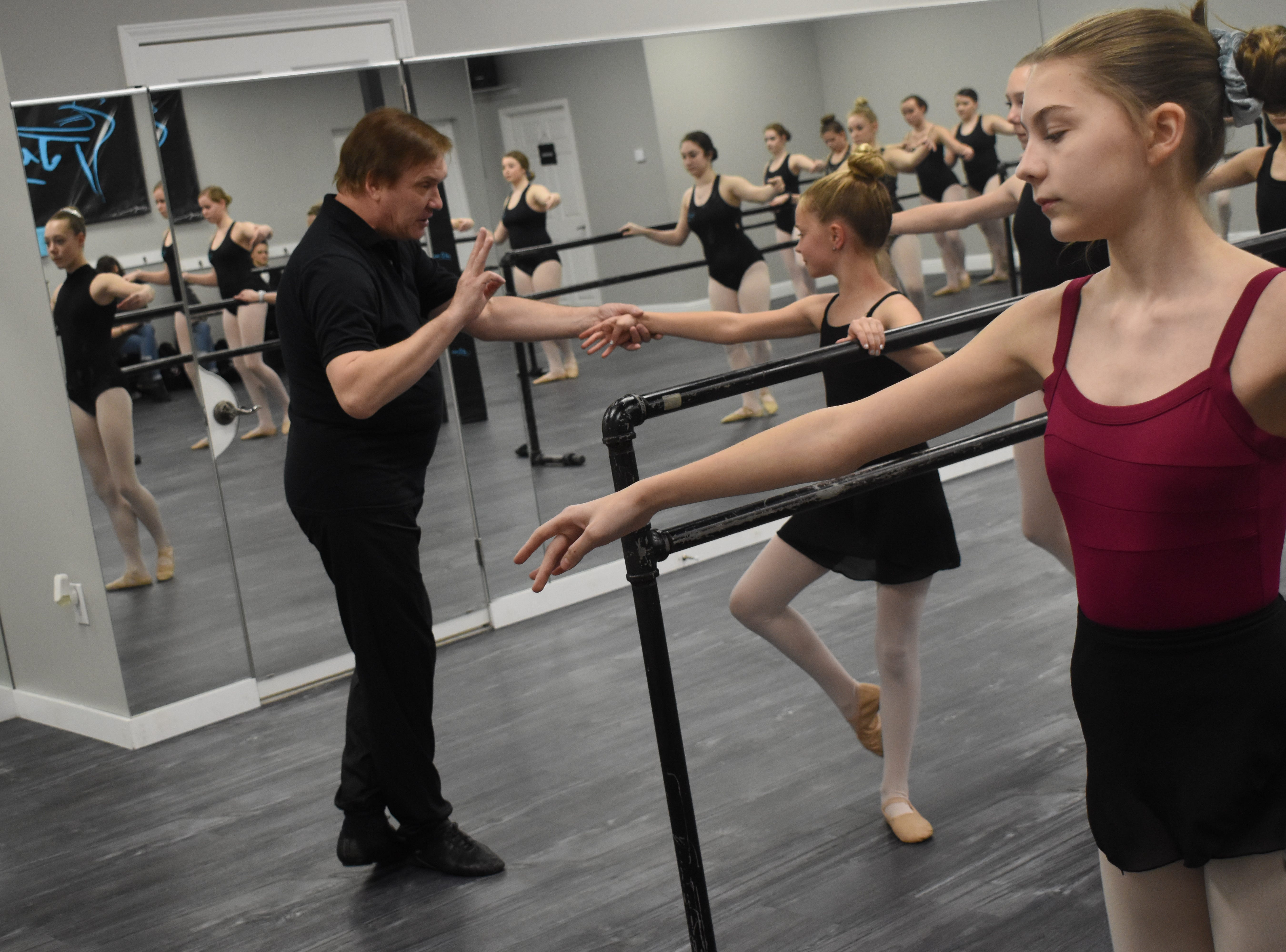 "Valery Lantratov, artistic director for the Russian National Ballet Foundation, taught a beginner ballet technique class and an intermediate ballet technique class at Just Dance dance studio Friday, Feb. 8, 2019. He recently portrayed Czar Nicholas II in the new ballet ""Rasputin."" He has toured the world as a solo artist and with his foundation. He has danced principal roles in ballets such as ""Don Quixote,"" ""Copellia,"" and ""Romeo and Juliet."" 
