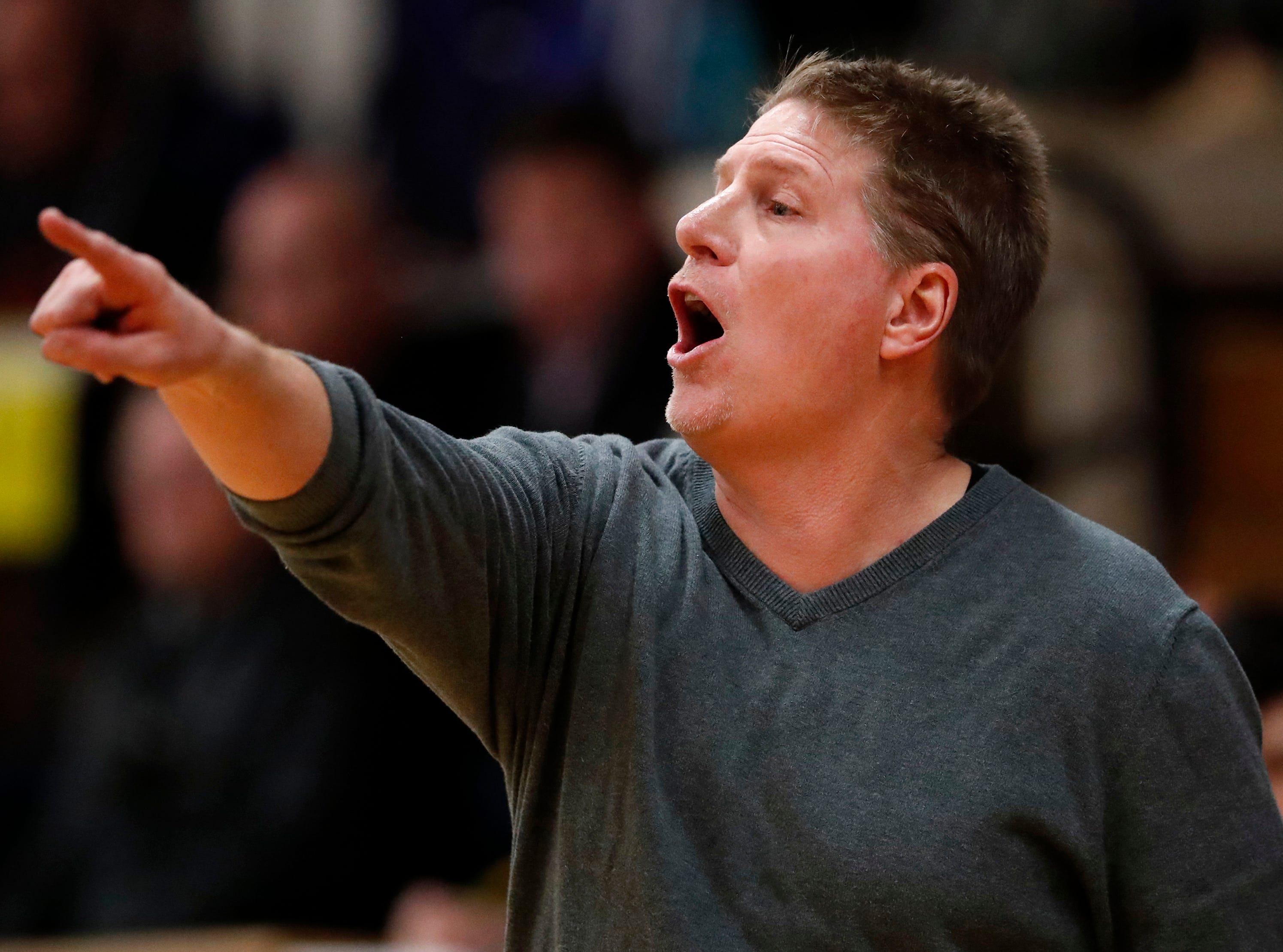 Seymour High School's head coach Jon Murphy directs his team during their game against Xavier High School Friday, Feb. 8, 2019, in Appleton, Wis.Danny Damiani/USA TODAY NETWORK-Wisconsin