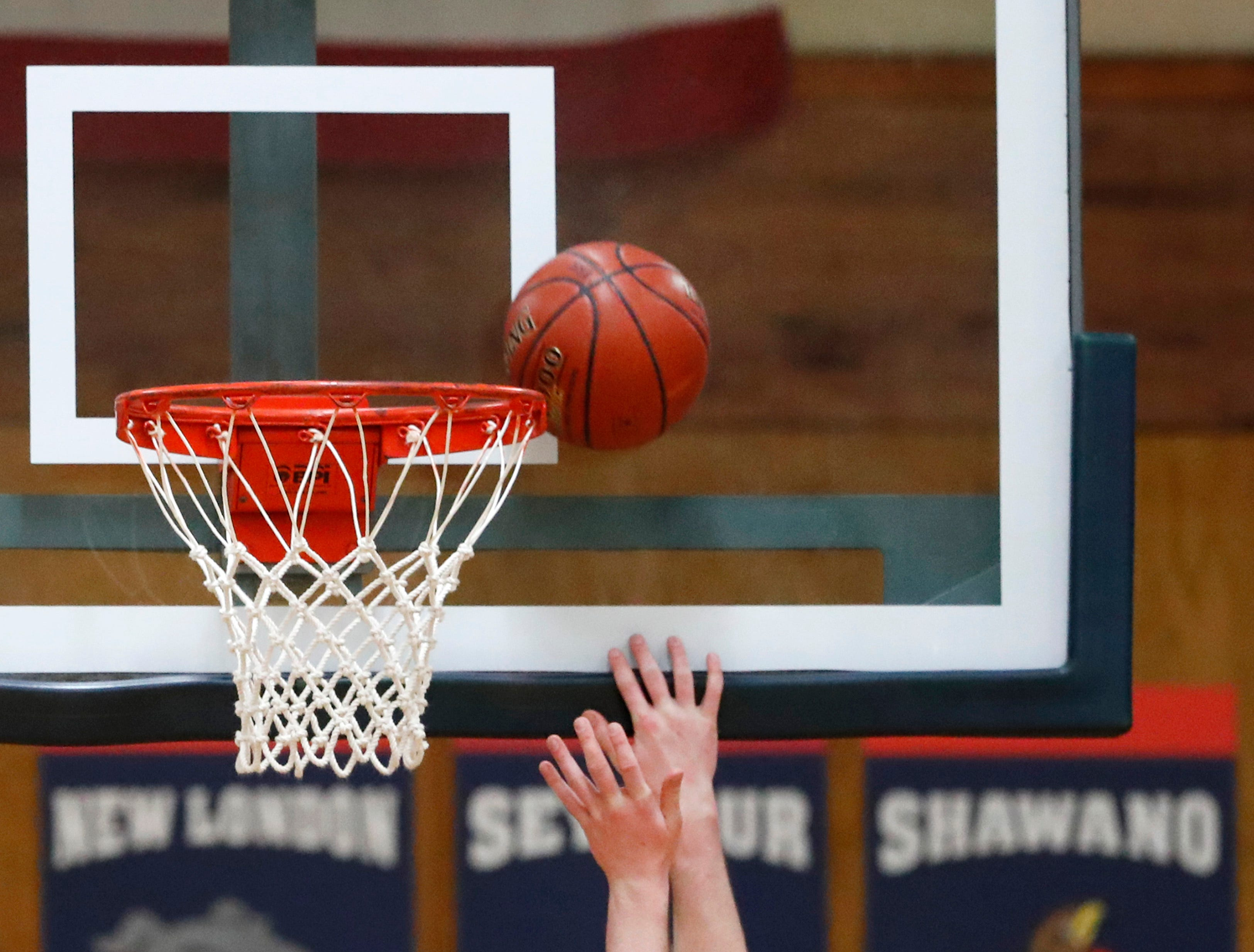 Xavier High SchoolÕs Nick Otto goes for a layup against Seymour High School Friday, Feb. 8, 2019, in Appleton, Wis. Xavier High School defeated Seymour 92-50.Danny Damiani/USA TODAY NETWORK-Wisconsin