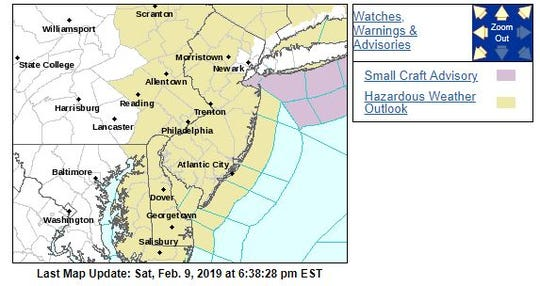 Yellow on the map marks the Hazardous Weather Outlook for the region.