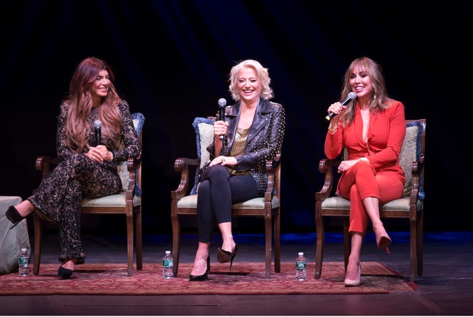 An Evening with the Celebrity Housewives takes place at Count Basie Theatre. Left to right are Teresa Giudice, New Jersey, Dorinda Medley, New York, and Kelly Dodd, Orange County. 