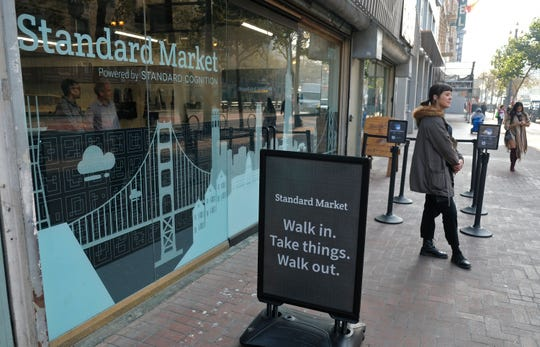 This photo shows the Standard Cognition cashier-less store on Market Street in San Francisco. A year after Amazon opened its first cashier-less store, startups and retailers are racing to get similar technology in other stores throughout the world, letting shoppers buy groceries without waiting in line.