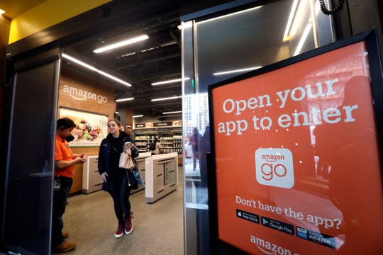 A shopper departs an Amazon Go store in Seattle. Get ready to say good riddance to the checkout line. A year after Amazon opened its first cashier-less store, startups and retailers are racing to get similar technology in other stores throughout the world, letting shoppers buy groceries without waiting in line.