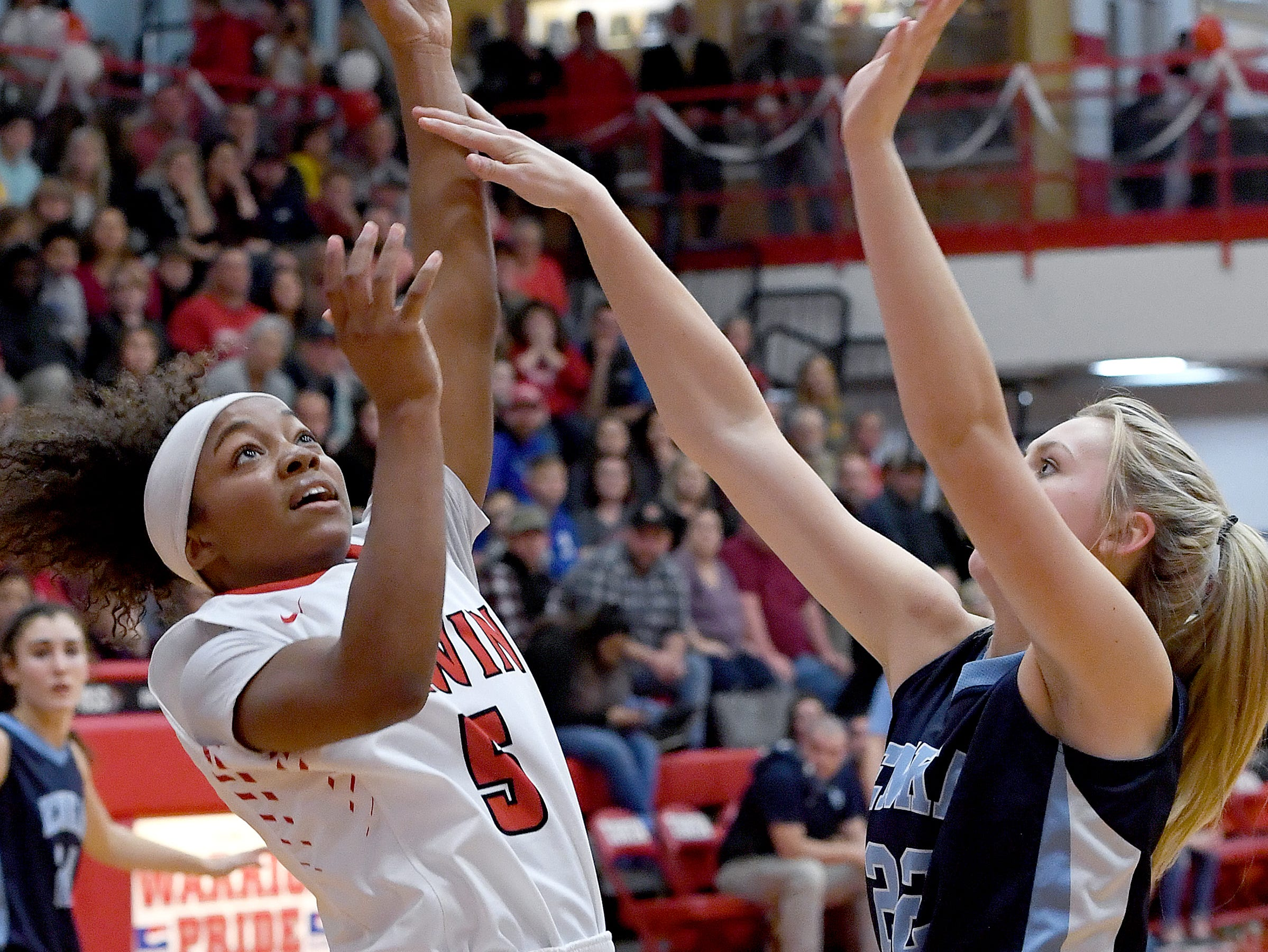 Erwin's Jaia Wilson goes up for a shot against Enka's Mya Smith during their game at Erwin High School on Feb. 8, 2019. The Lady Warriors defeated the Sugar Jets 68-46 to claim the WMAC regular season title.