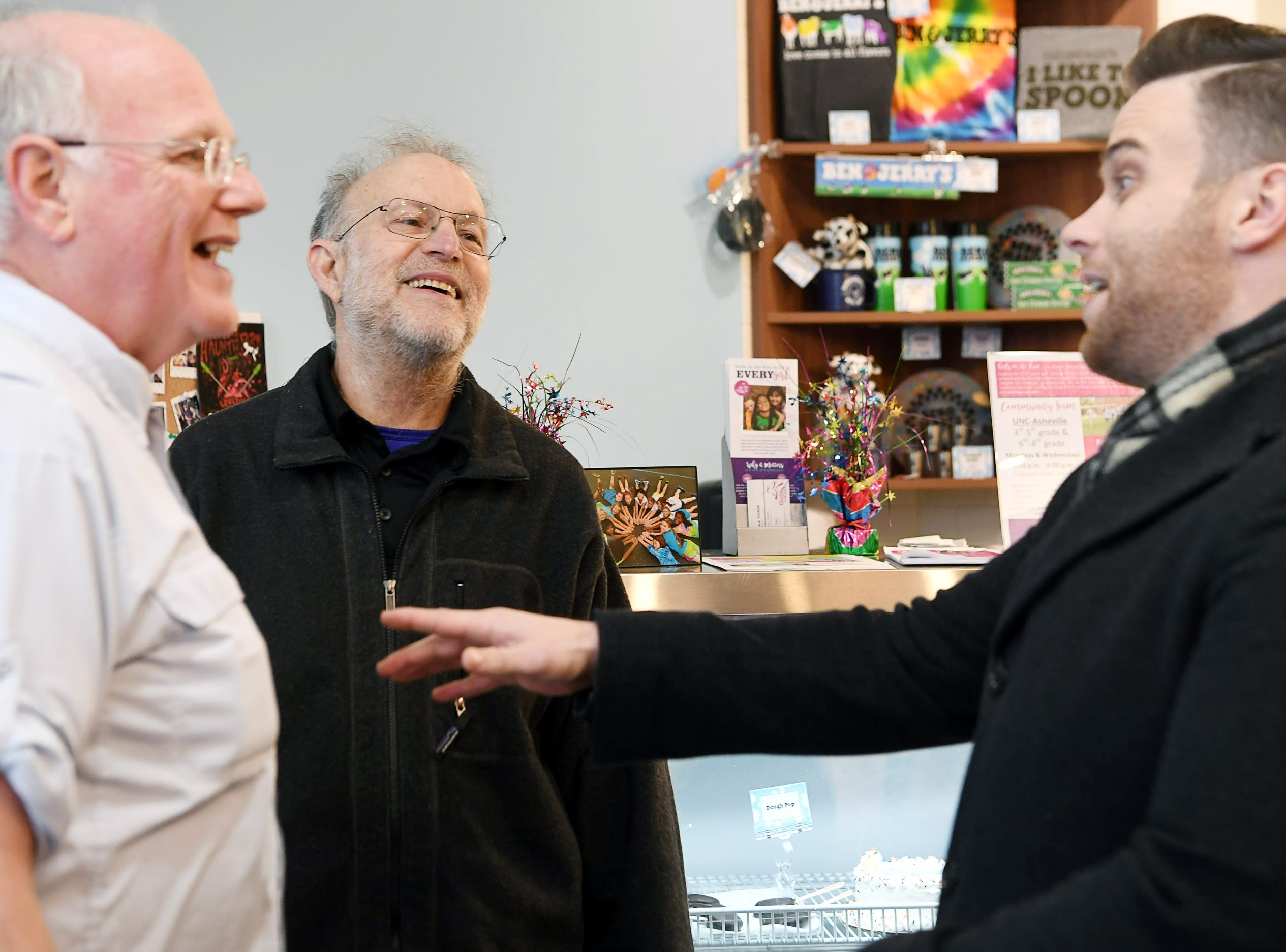 Ben Cohen and Jerry Greenfield, founders of Ben and Jerry's ice cream, met fans in Asheville on Feb. 9, 2019.