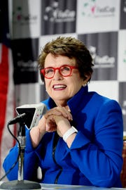 Billie Jean King, former World No. 1 professional tennis player, speaks during a press conference before watching the first day of Fed Cup competition between the US and Australia at the US Cellular Center in Asheville Feb. 9, 2019.