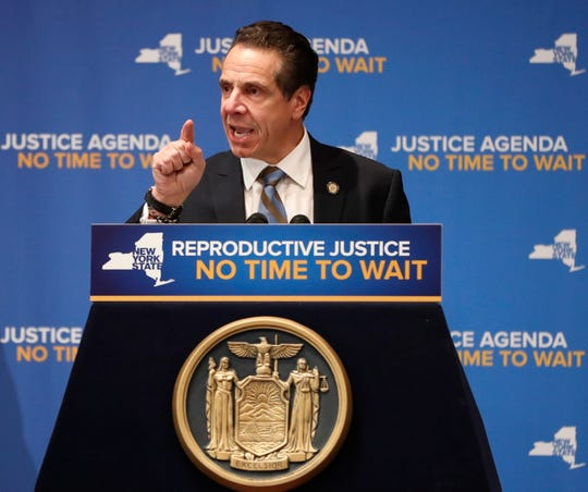 New York Governor Andrew Cuomo speaks Jan. 7 at Barnard College in New York, where Democrats called for codifying abortion rights into New York State law.