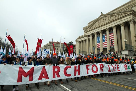 Anti-abortion activists march toward the U.S. Supreme Court during the March for Life in Washington on Jan. 18.