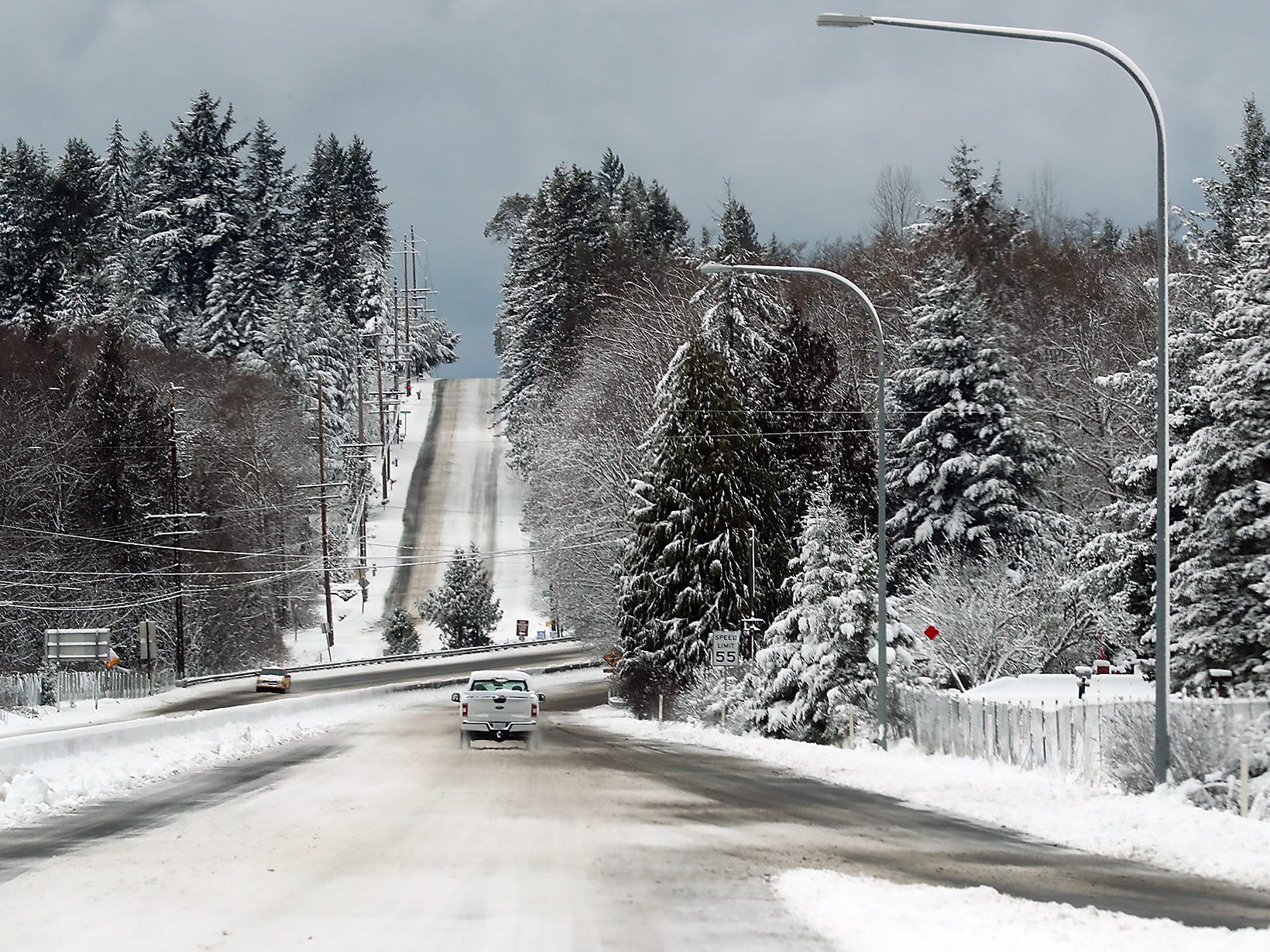 A snowy highway 303 in Silverdale on Saturday, February 9, 2019.