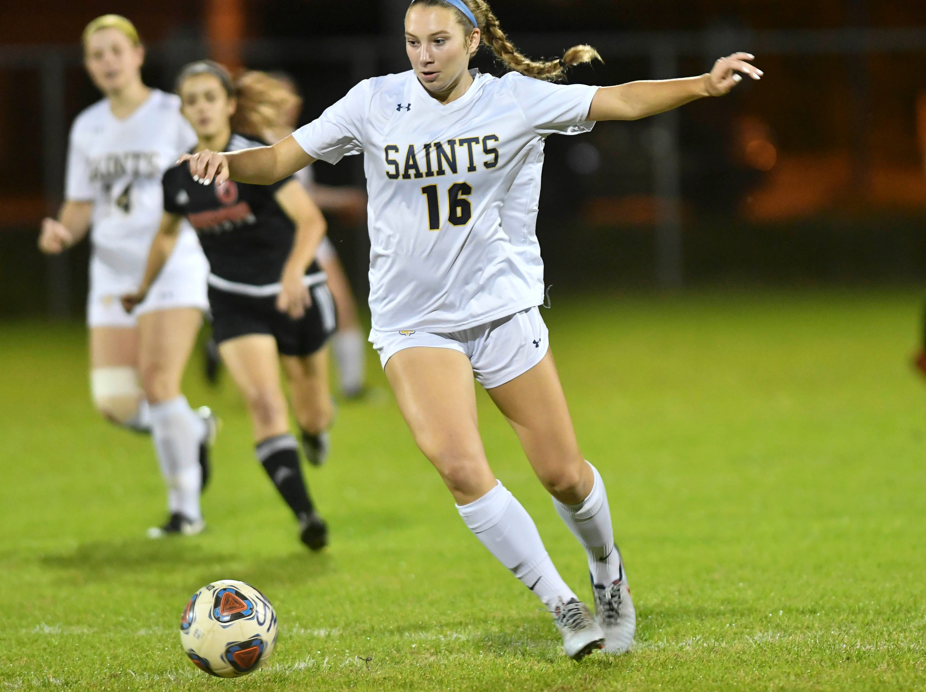 Trinity Prep's Phoebe Fowler drives downfield during Friday's Class 2A regional soccer semifinal at Edgewood Jr/Sr HIgh