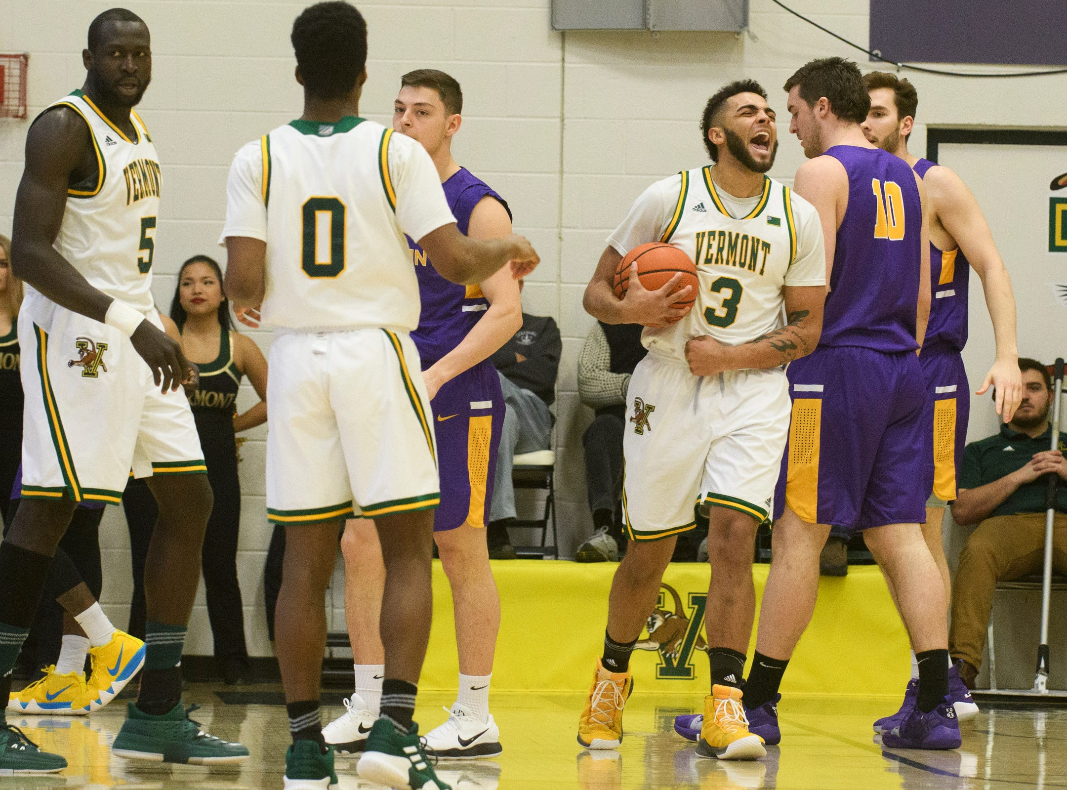 Vermont forward Anthony Lamb (3) reacts after a foul call on Albany during the men's basketball game between the Albany Great Danes and the Vermont Catamounts at Patrick Gym on Saturday February 9, 2019 in Burlington, Vermont.