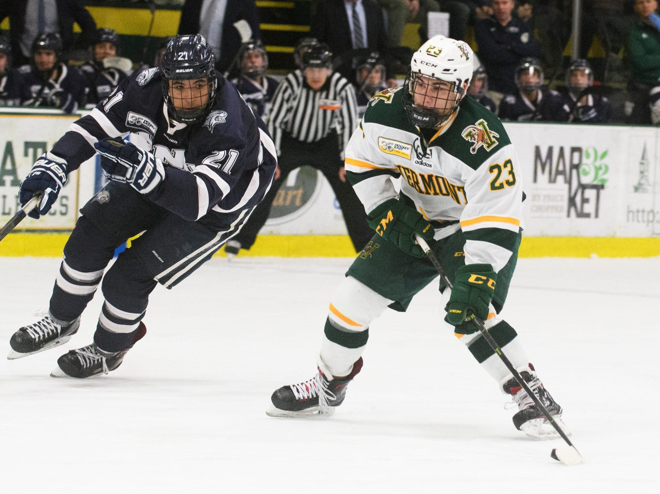 Vermont forward Max Kaufman (23) looks to take a shot during the men's hockey game between the New Hampshire Wildcats and the Vermont Catamounts at Gutterson Field House on Friday night February 8, 2019 in Burlington, Vermont.