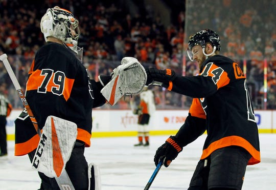 Goalie carter Hart stopped 30 of the 32 shots he faced and Sean Couturier had a goal and two assists in the Flyers' 6-2 win over Anaheim on Saturday.