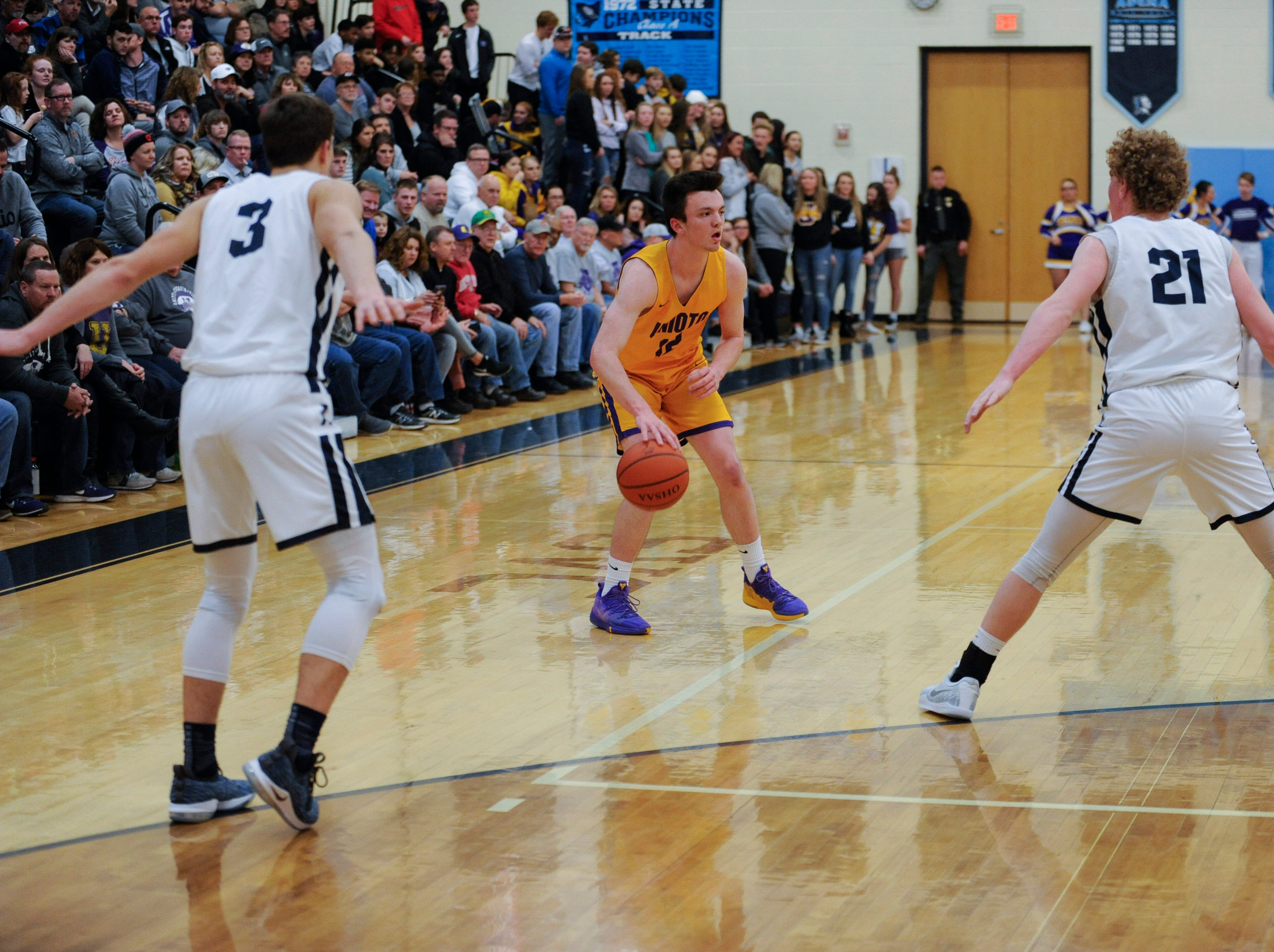 Adena defeated Unioto Friday night 50-38 in Frankfort, Ohio, to elevate Adena 16-4 for the season with only two svc games left for the season.