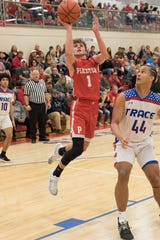 Piketon basketball's Alex Blanton who scored 30 points on seven threes in a 48-46 win over Westfall on Friday.