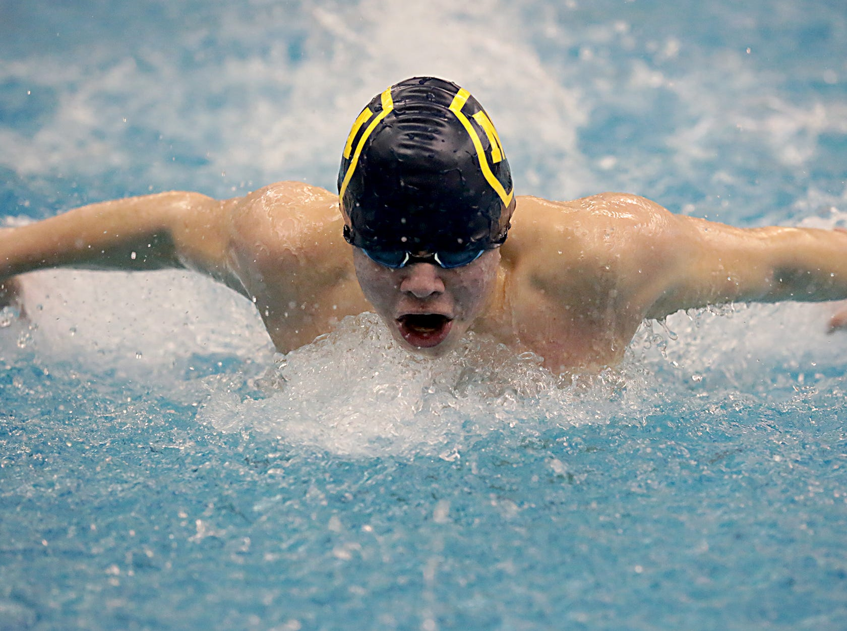 Mitch Garboden, from Moeller, competes in the 100-yard butterfly during the Division I and Division II sectionals at Mason High School in Mason Friday, Feb. 8, 2019.