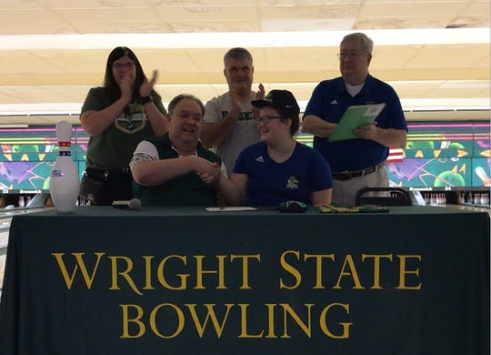 Northwest High School's Sophia Fischer, front right, will bowl for Wright State University.