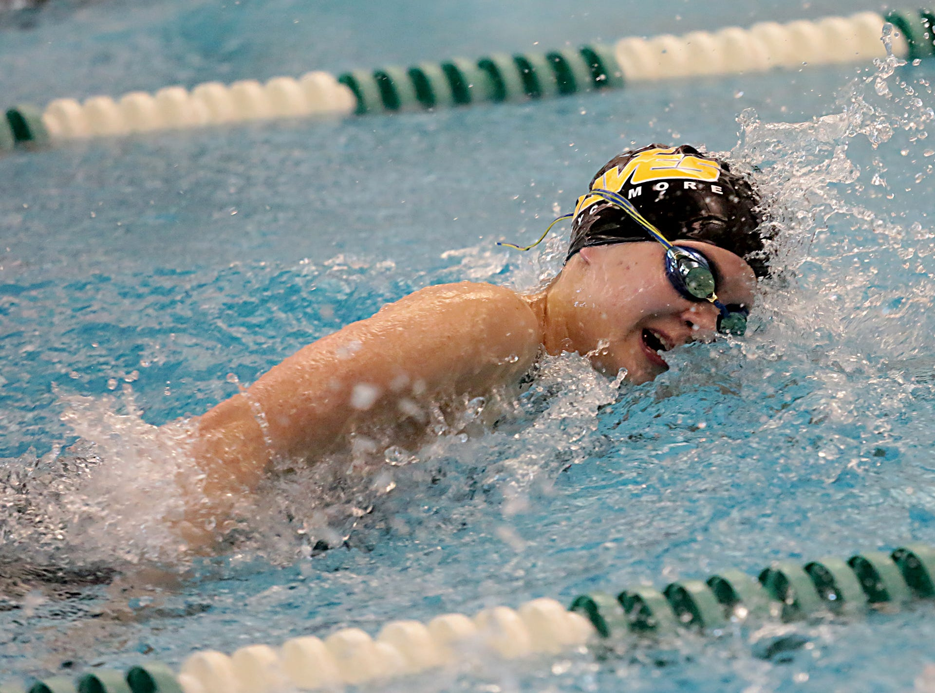 Marissa Thorp, from Sycamore, competes in the 200-yard freestyle during the Division I and II girls sectionals at Mason High School Saturday, Feb. 9, 2019.
