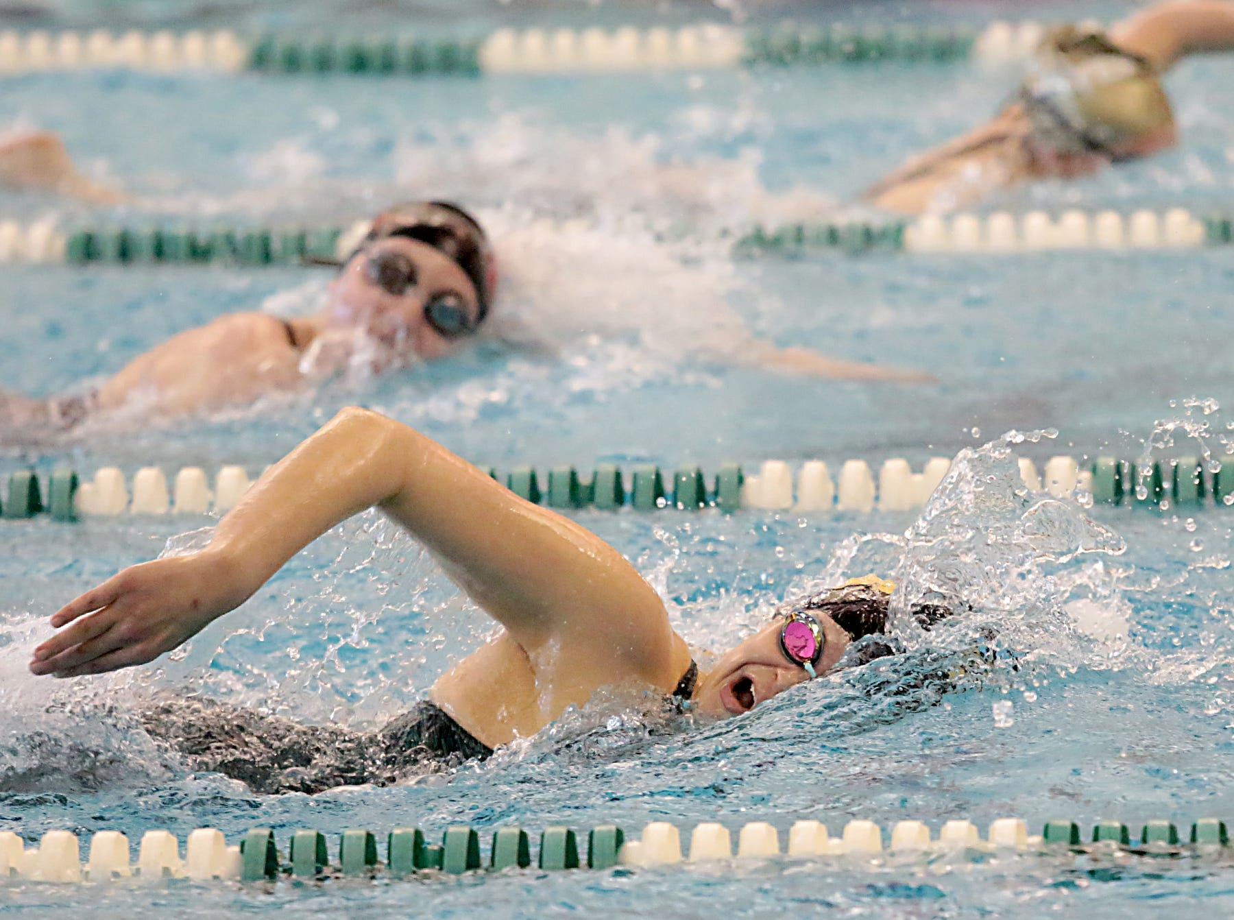Olivia Shields, from Sycamore, competes in the 200-yard freestyle during the Division I and II girls sectionals at Mason High School Saturday, Feb. 9, 2019.