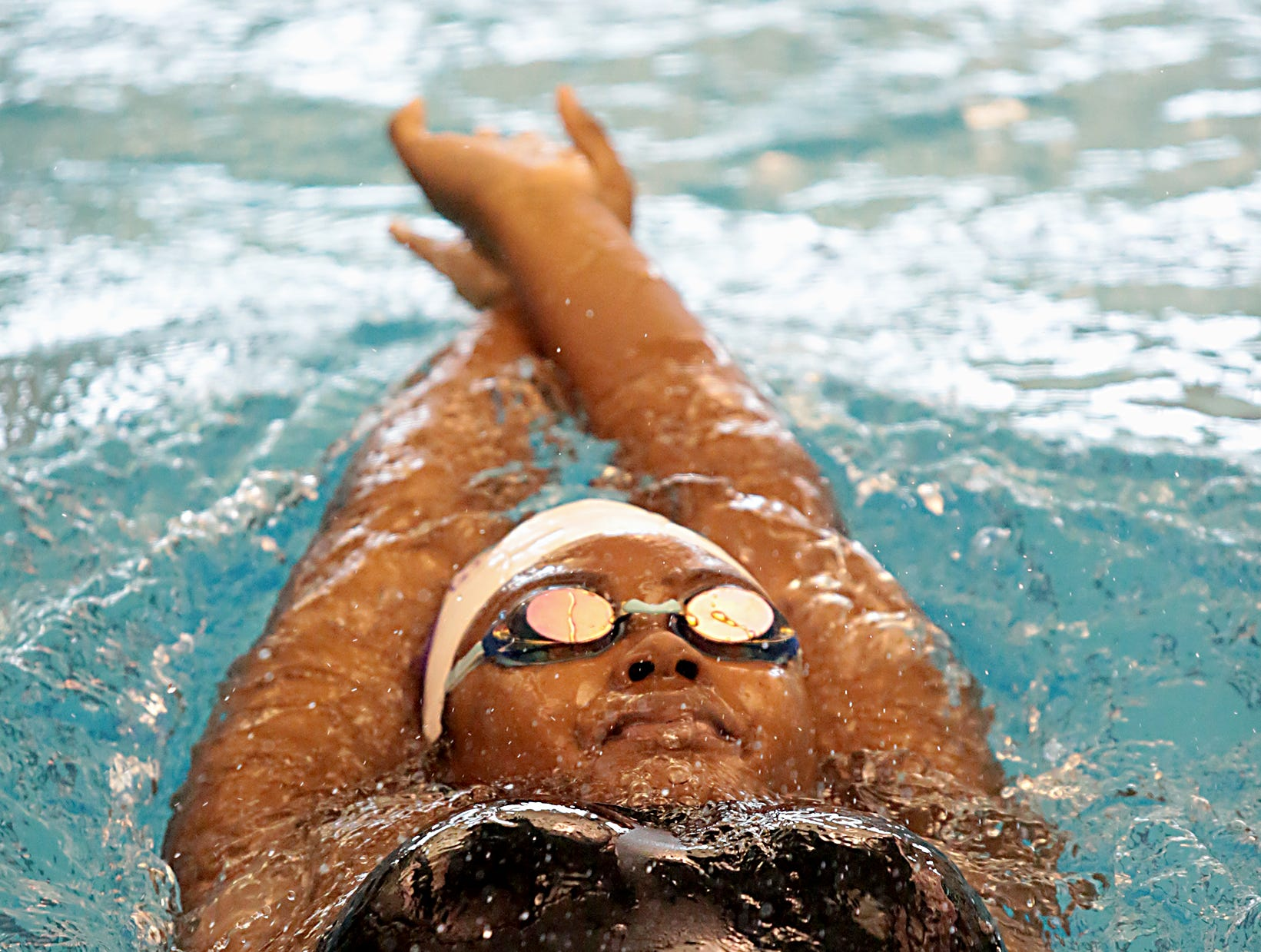 Pria Thompson, from Cincinnati Hills Christian Academy, competes in the 200 -yard IM during the Division I and II sectionals at Mason High School Saturday, Feb. 9, 2019.