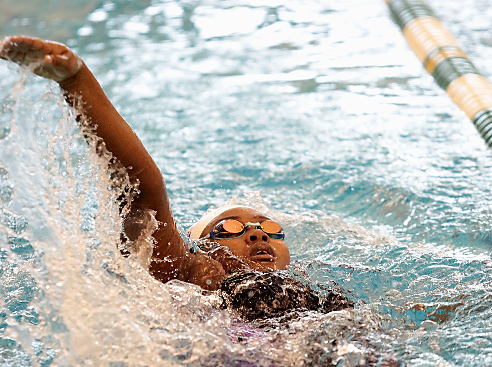 Pria Thompson, from Cincinnati Hills Christian Academy, competes in the 200-yard IM during the Division I and II sectionals at Mason High School Saturday, Feb. 9, 2019.