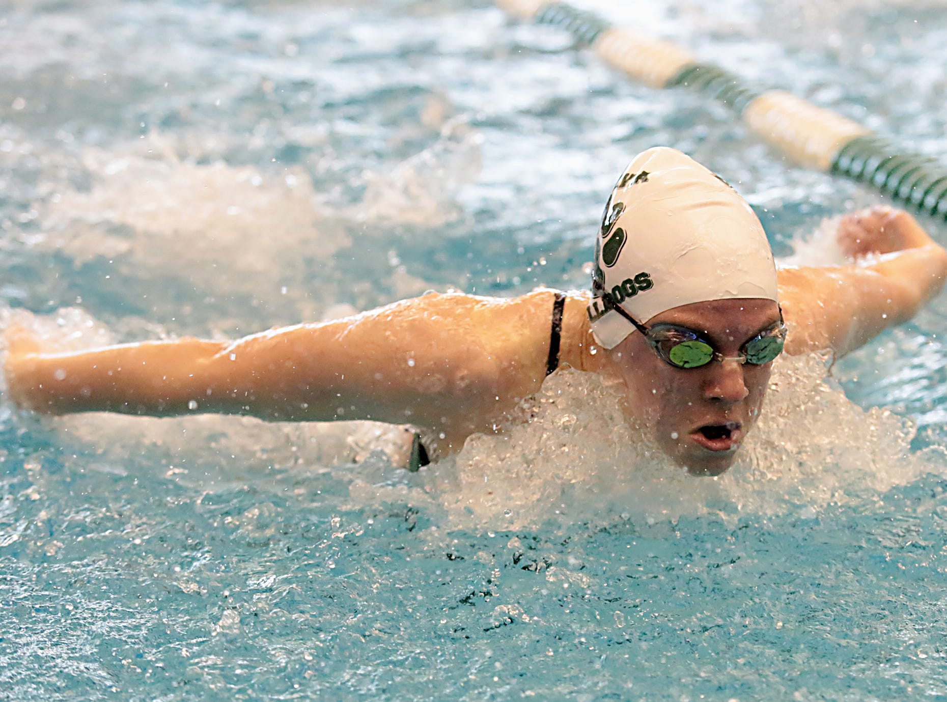 Emma Otten, from Batavia, competes in the 100-yard butterfly during the Division I and II sectionals at Mason High School Saturday, Feb. 9, 2019.
