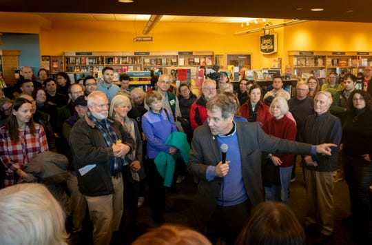Senator Sherrod Brown speaks to a crowd at Gibson's Bookstore in Concord, New Hampshire Saturday, February 9, 2019.