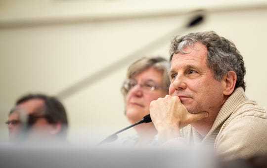 Senator Sherrod Brown listens to a question during a roundtable with Campaign For A Family Friendly Economy at Winnacunnet High School in Hampton, NH Friday, February 8, 2019.