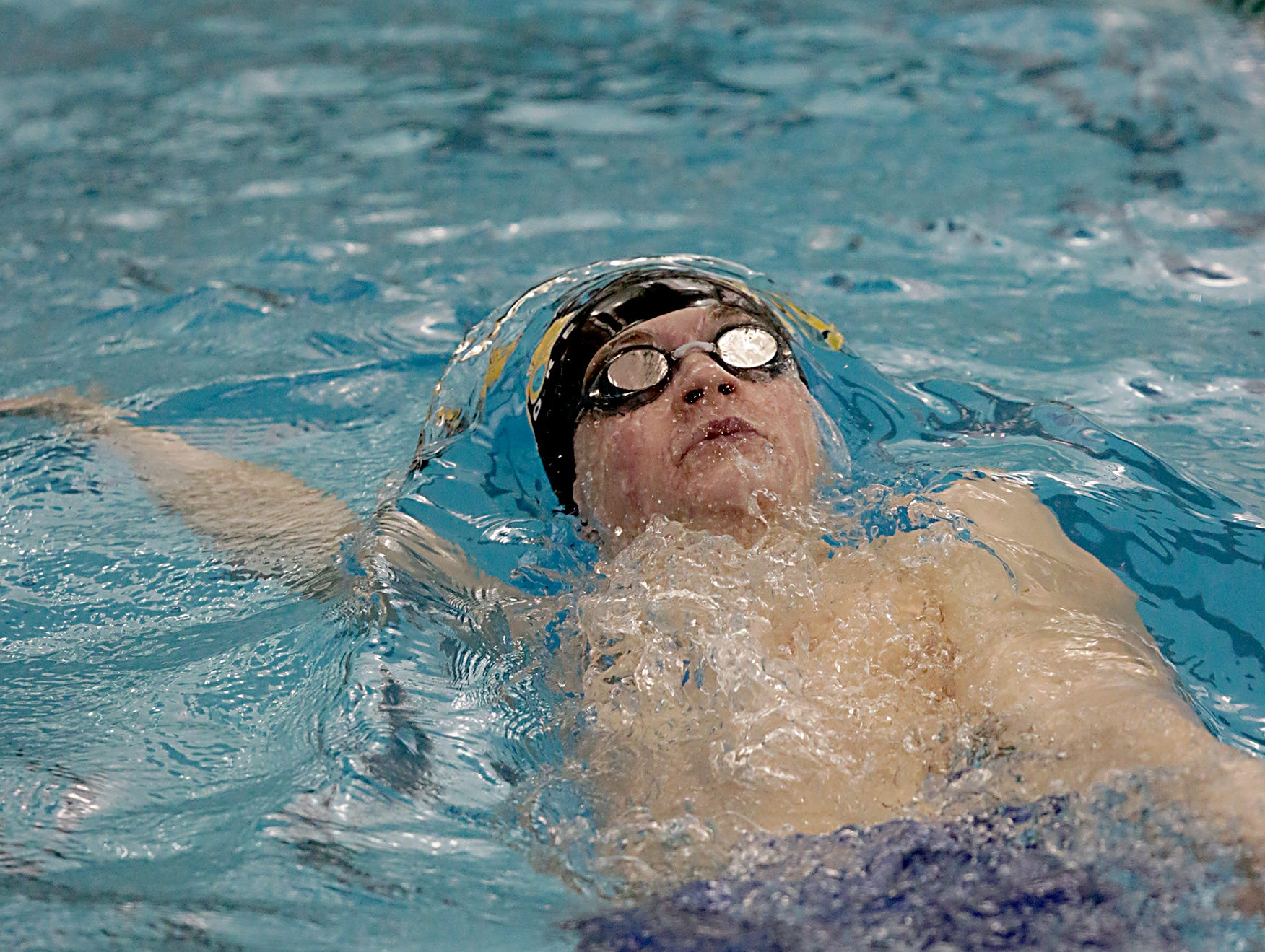 Keegan Veraldo, from Sycamore, competes in the 200-yard IM during the Division I and Division II sectionals at Mason High School in Mason Friday, Feb. 8, 2019.