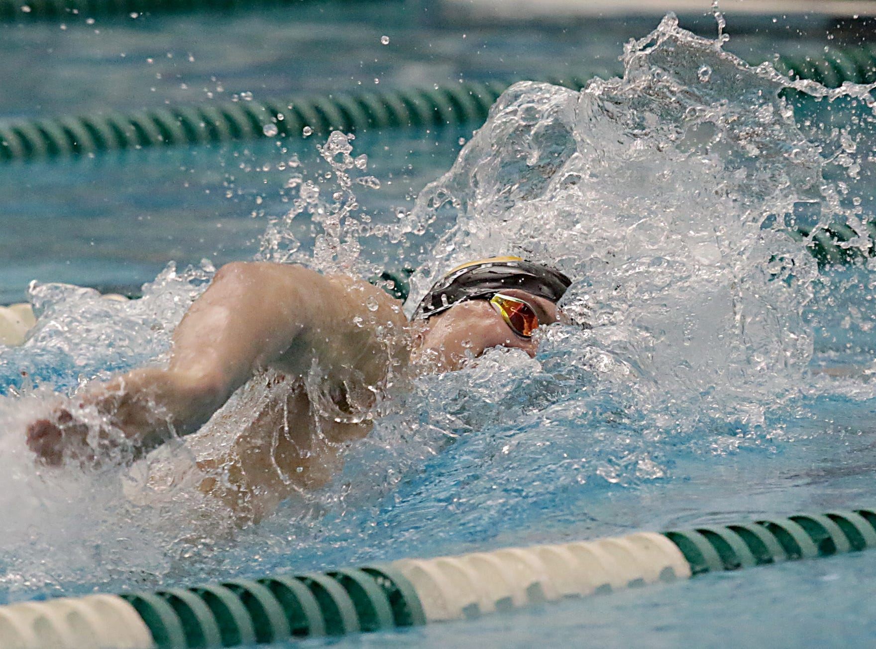 Carson Foster, from Sycamore, competes in the 200-yard freestyle during the Division I and Division II sectionals at Mason High School in Mason Friday, Feb. 8, 2019.