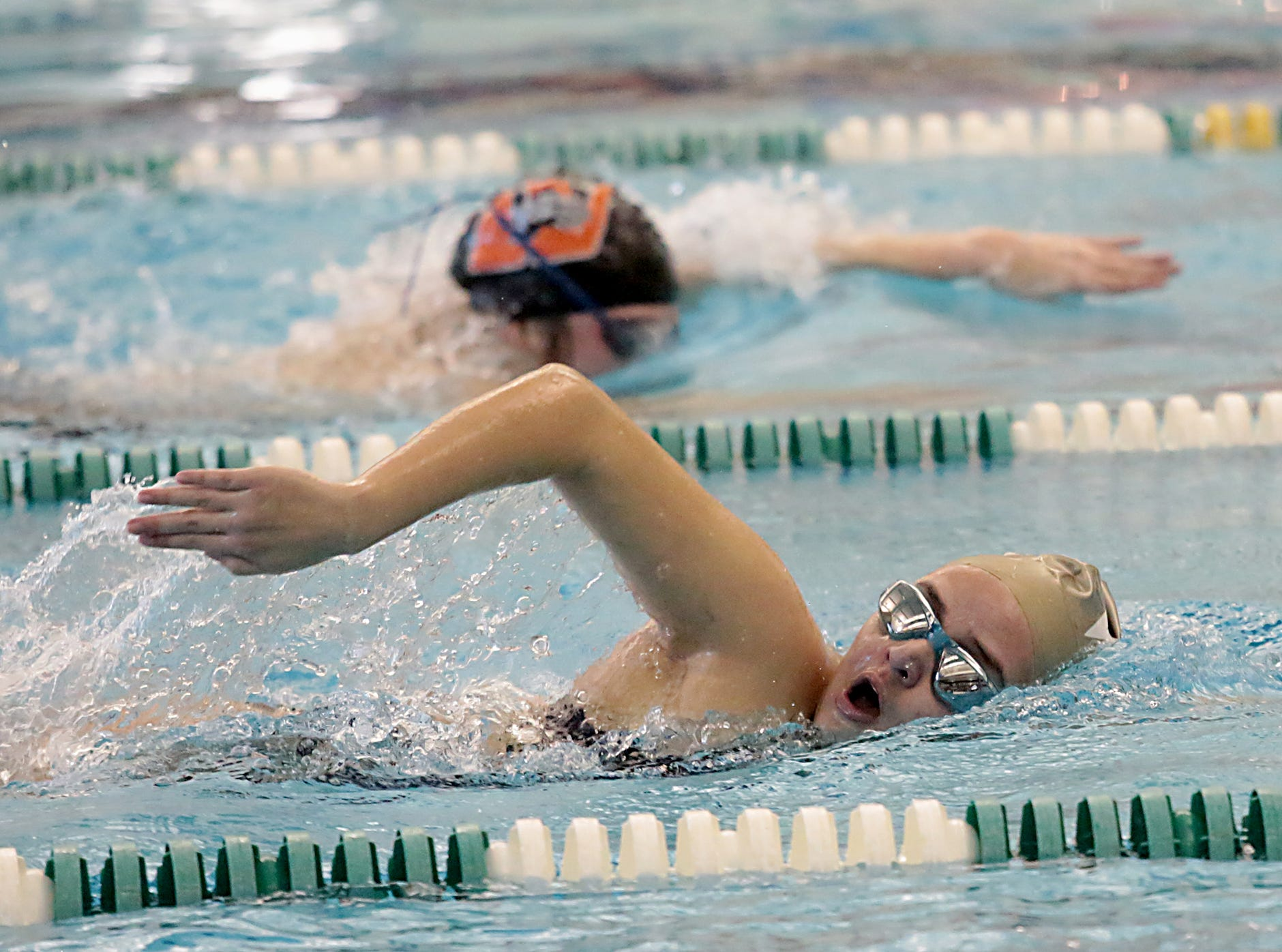 Marki Ellis, from West Clermont, competes in the 200-yard freestyle during the Division I and II sectionals at Mason High School Saturday, Feb. 9, 2019.