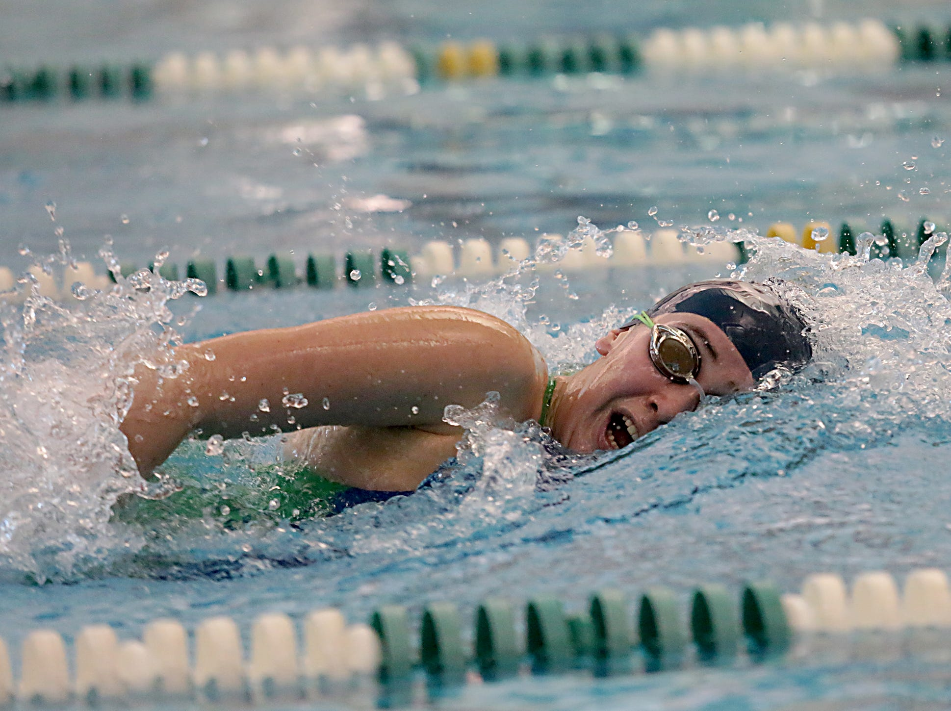 Grace Ramirez, from Cincinnati Country Day, competes in the 200-yard freestyle during the Division I and II sectionals at Mason High School Saturday, Feb. 9, 2019.