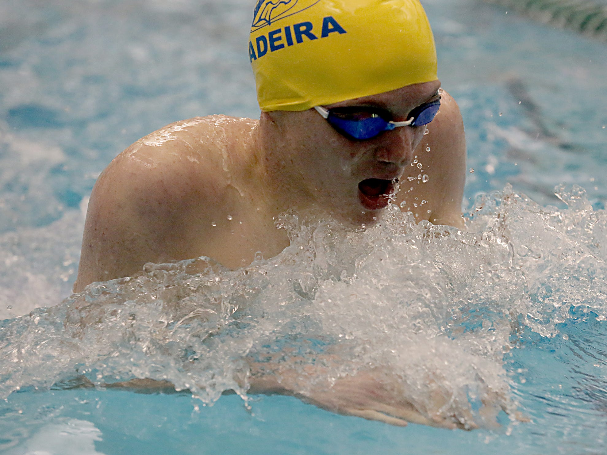 Logan Kaising, from Madeira, competes in the 200-yard freestyle during the Division I and Division II sectionals at Mason High School in Mason Friday, Feb. 8, 2019.