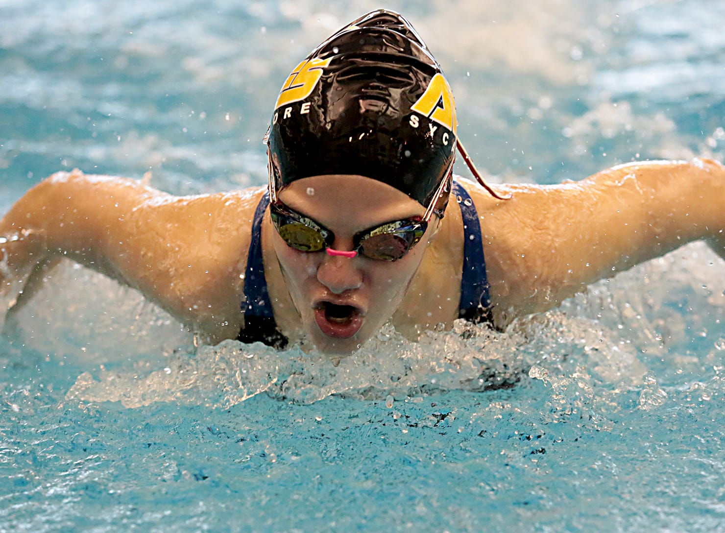 Victoria Schwegmann, from Sycamore, competes in the 200-yard IM during the Division I and II sectionals at Mason High School Saturday, Feb. 9, 2019.