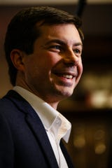 2020 Democratic hopeful Pete Buttigieg talked to people at Vintage Cooperative in Ankeny Friday, Feb. 8, 2019.