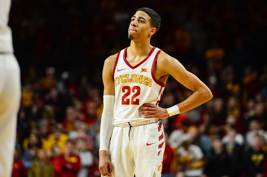 Iowa State guard Tyrese Haliburton (22) reacts during the second half of the Cyclones' game against TCU on Saturday, Feb. 9, 2019, at Hilton Coliseum in Ames.