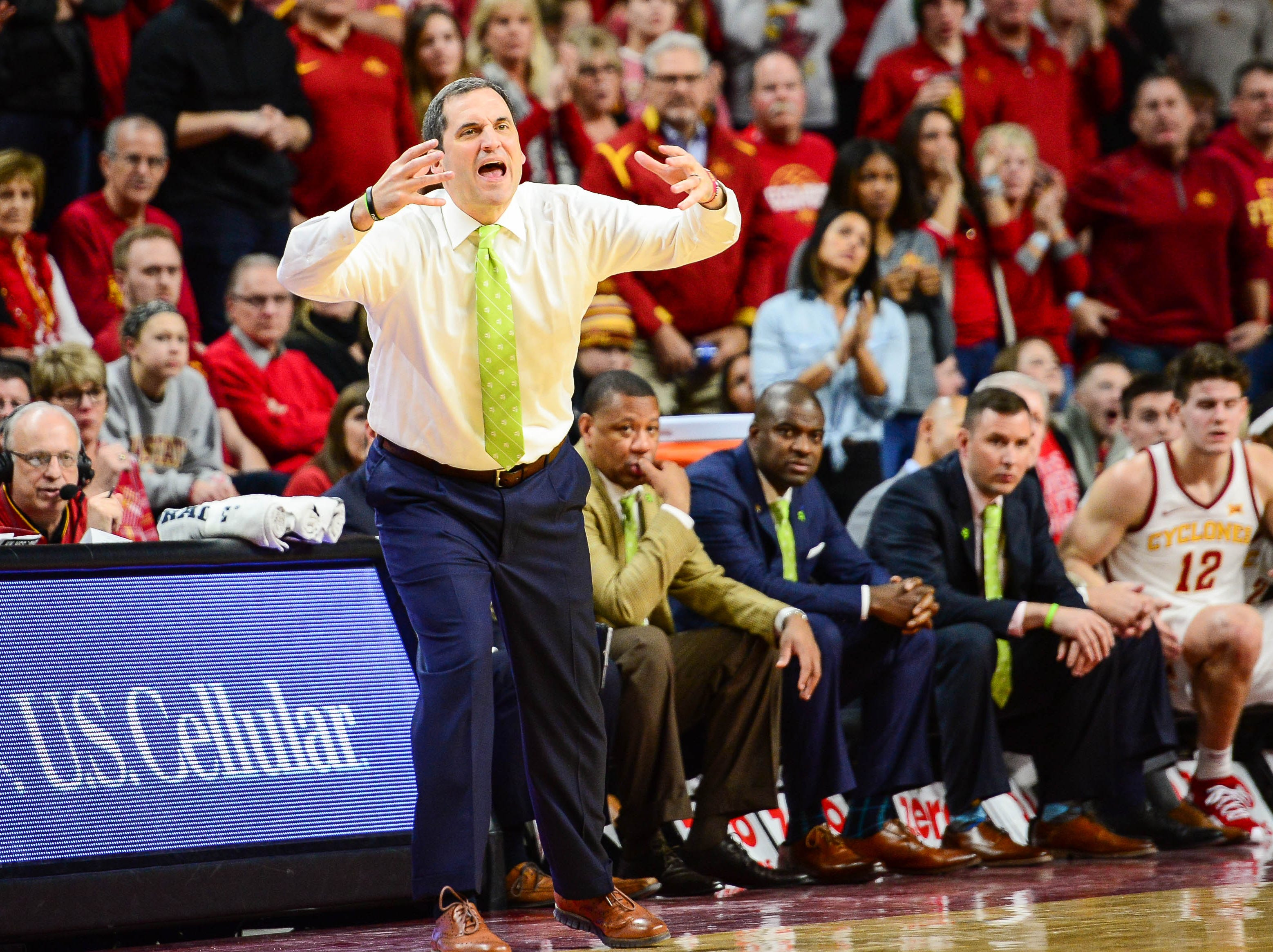 Iowa State coach Steve Prohm reacts during the second half of the Cyclones' game against TCU on Saturday, Feb. 9, 2019, at Hilton Coliseum in Ames.