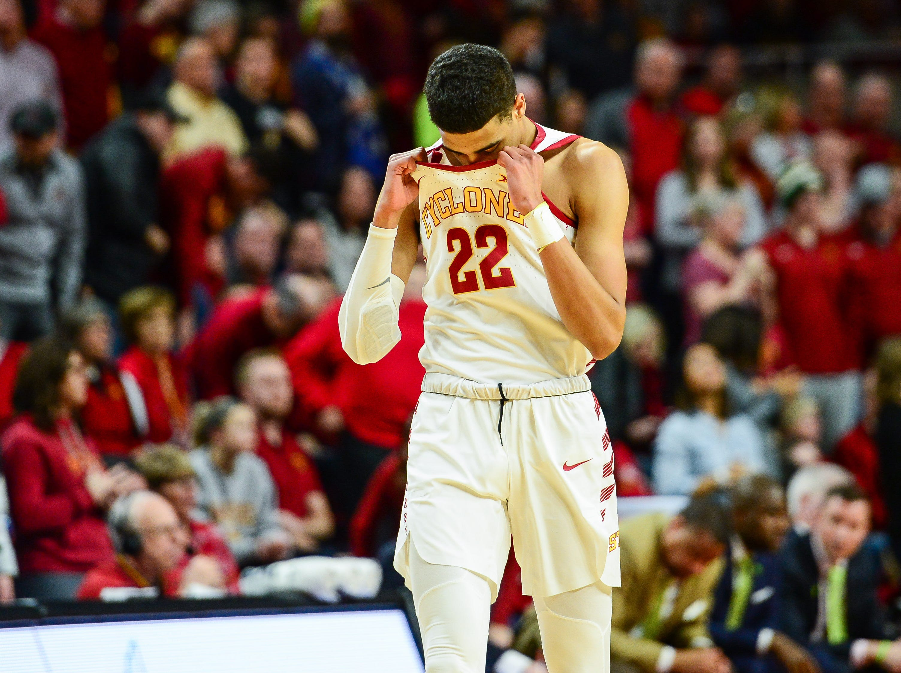 Feb 9, 2019; Ames, IA, USA; Iowa State Cyclones guard Tyrese Haliburton (22) reacts during the second half of the Cyclones' game against TCU on Saturday, Feb. 9, 2019, at Hilton Coliseum in Ames.